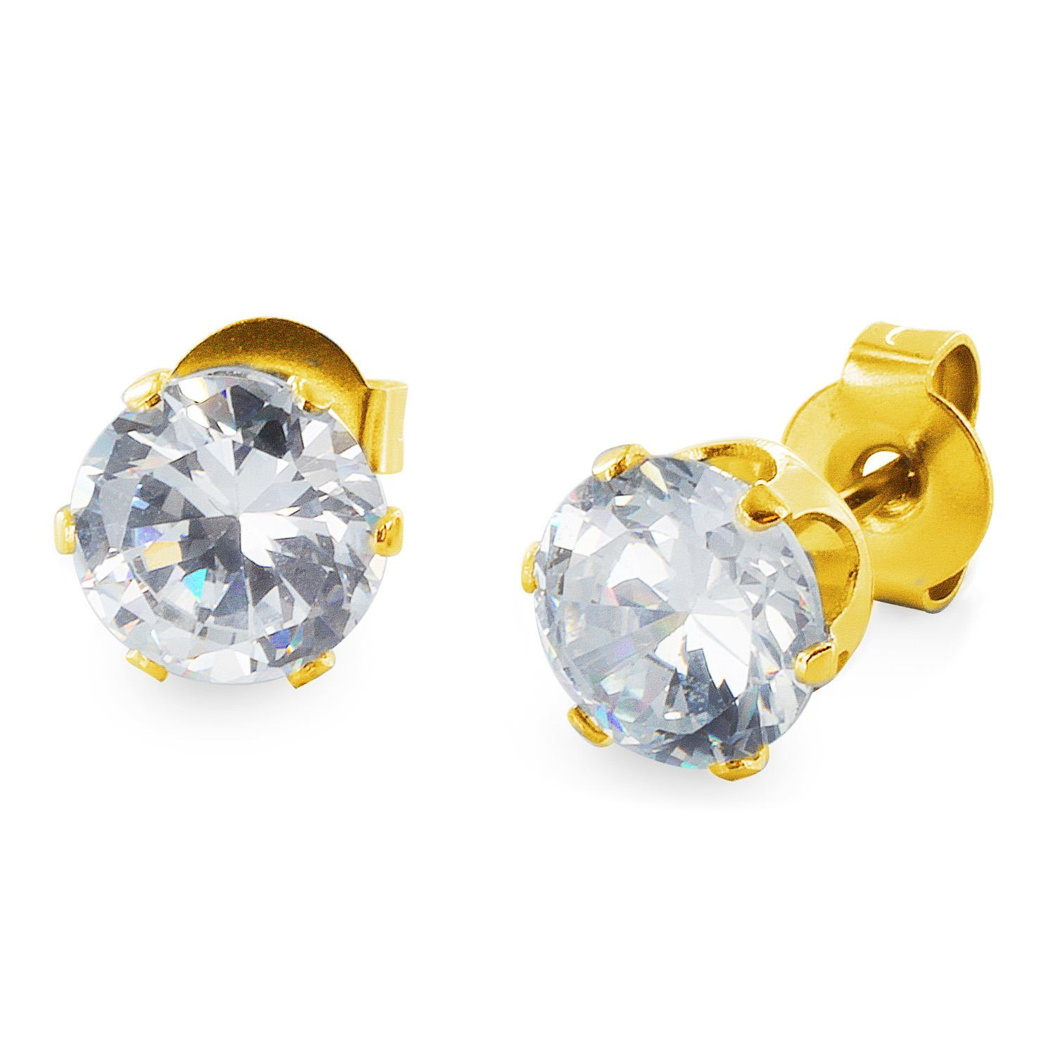 Gold Plated Stainless Steel Stud Earrings with Round Clear CZ - 5 mm