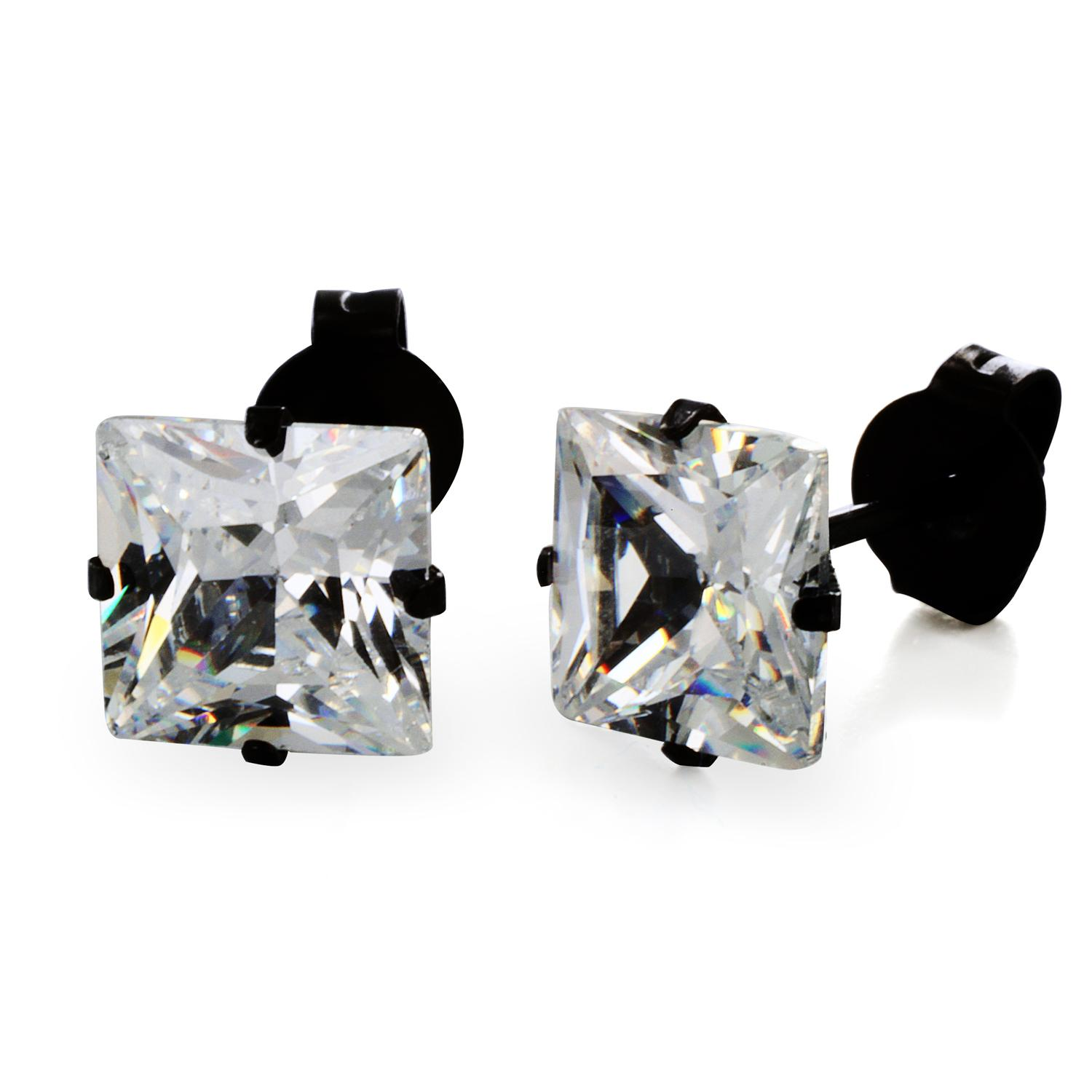 Black Plated Stainless Steel Stud Earrings with Princess Cut Clear CZ - 7 mm