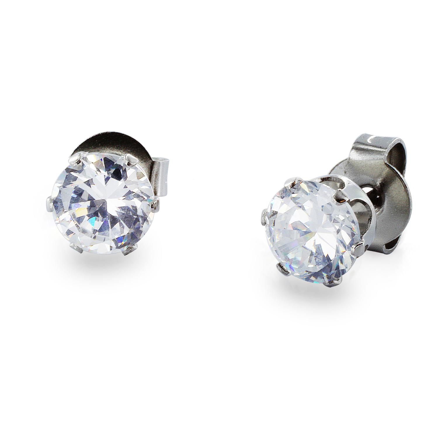 Stainless Steel Stud Earrings with Round Clear CZ - 3 mm