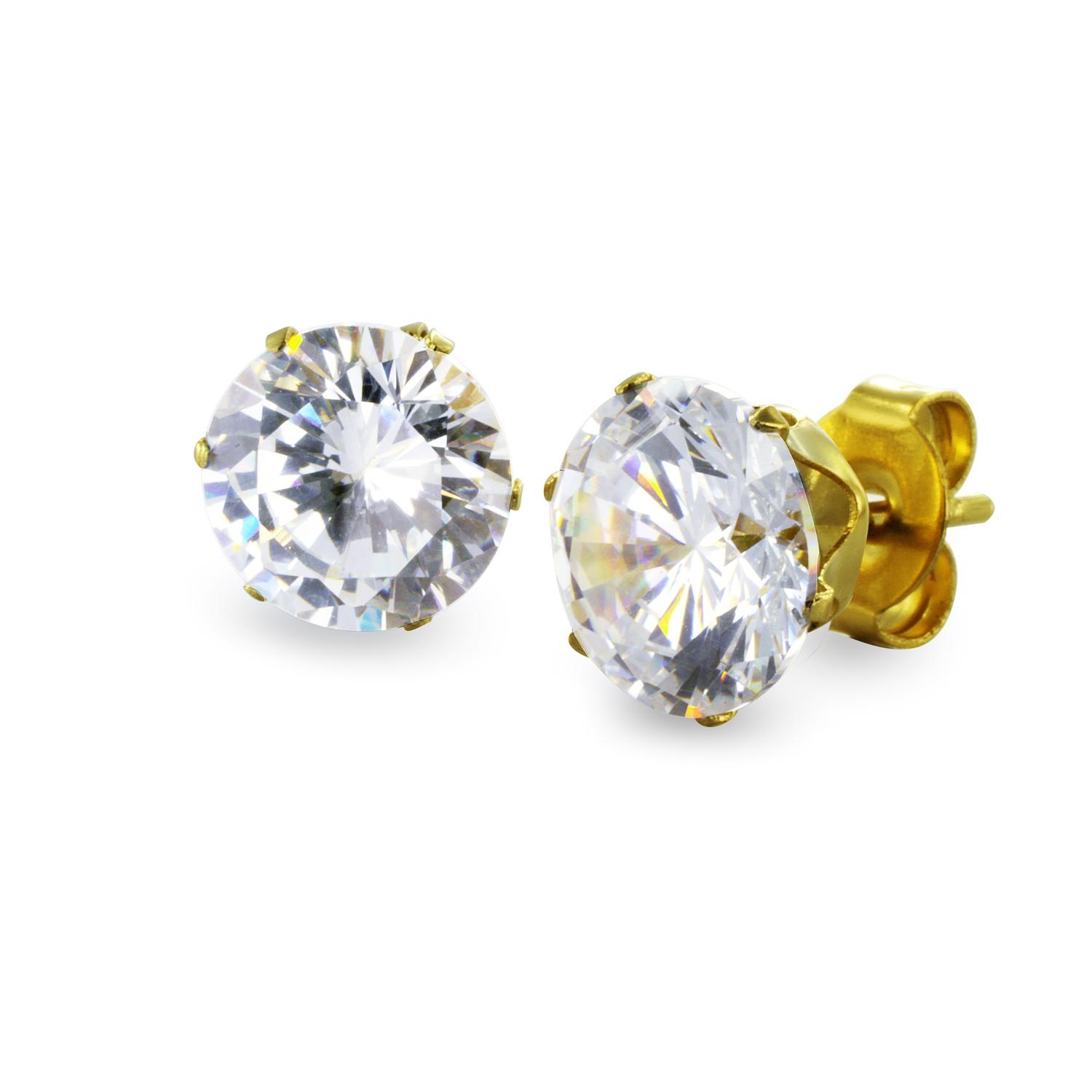 Gold Plated Stainless Steel Stud Earrings with Round Clear CZ - 7 mm