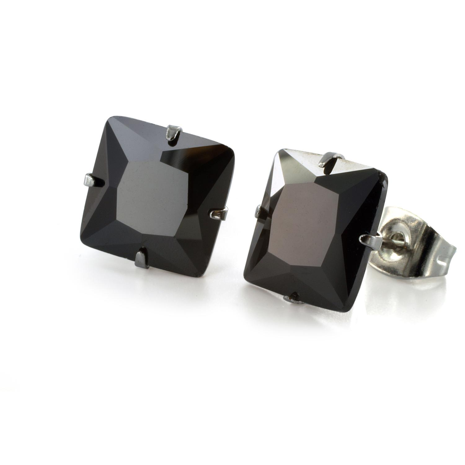 Stainless Steel Stud Earrings with Princess Cut Square Black CZ - 9 mm