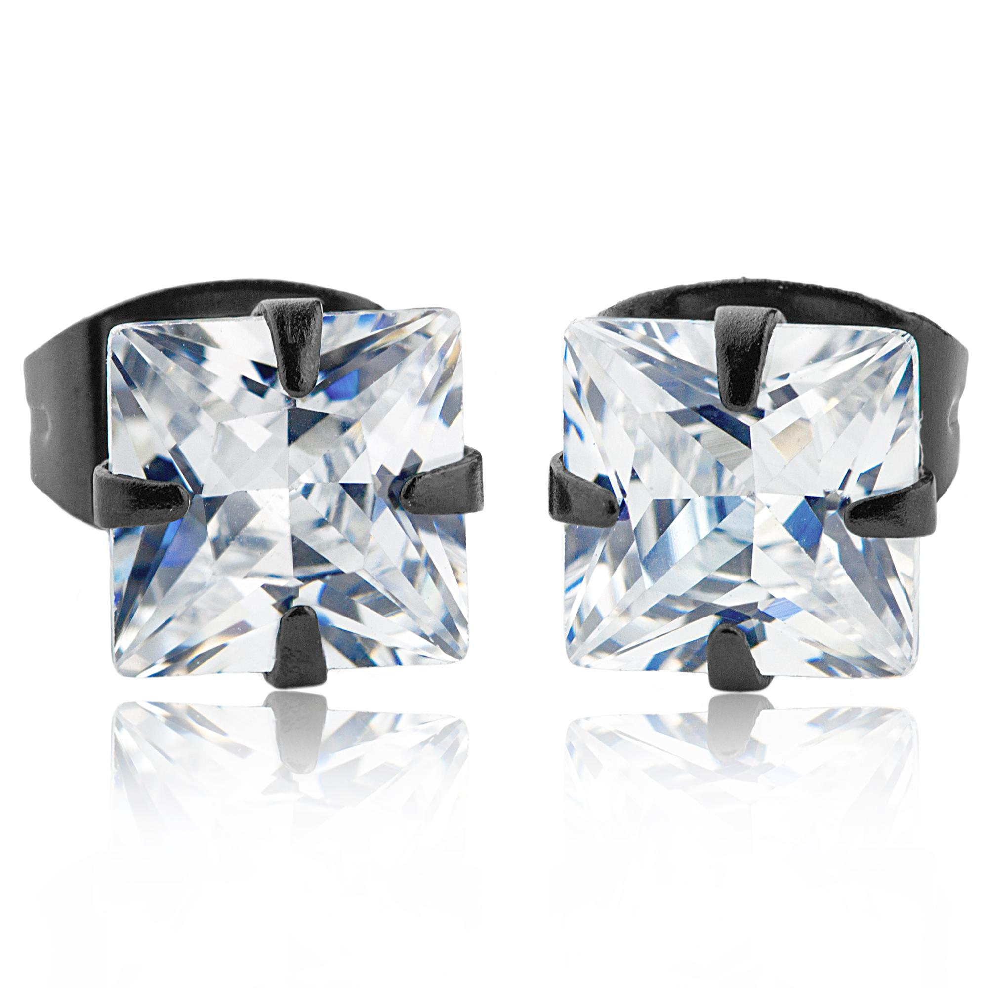 Black Plated Stainless Steel Stud Earrings with Princess Cut Clear CZ - 5 mm