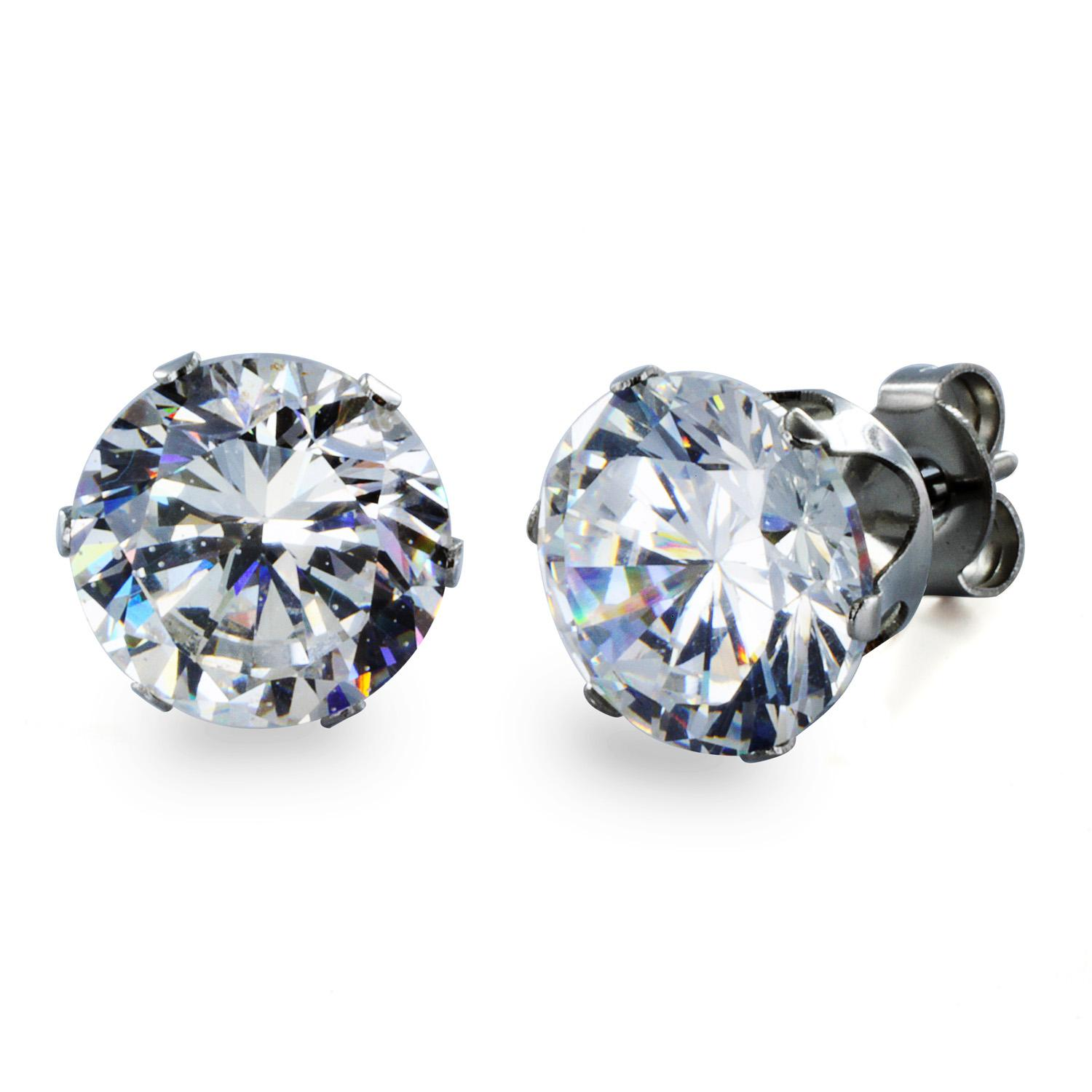 Stainless Steel Stud Earrings with Round Clear CZ - 9 mm