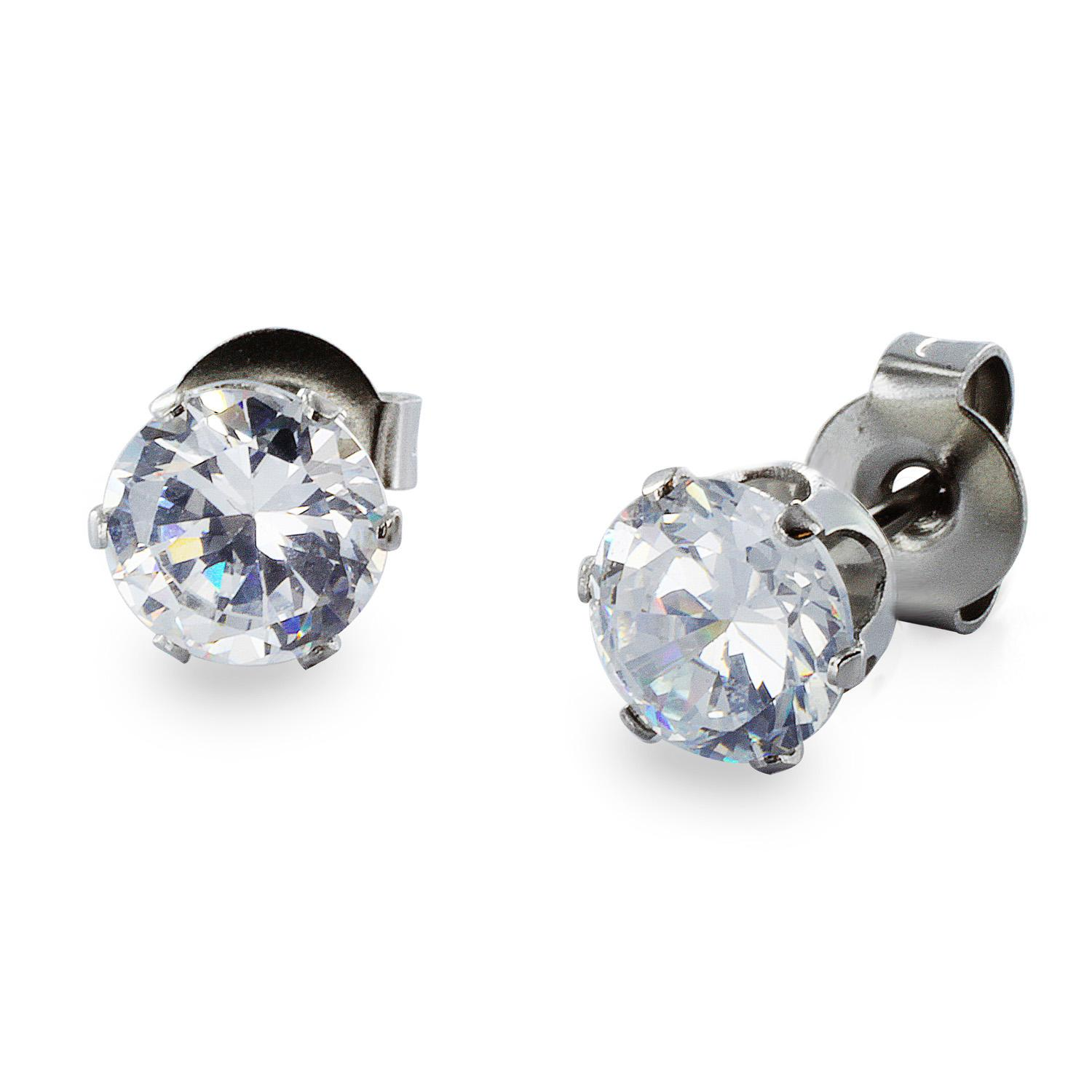 Stainless Steel Stud Earrings with Round Clear CZ - 4 mm