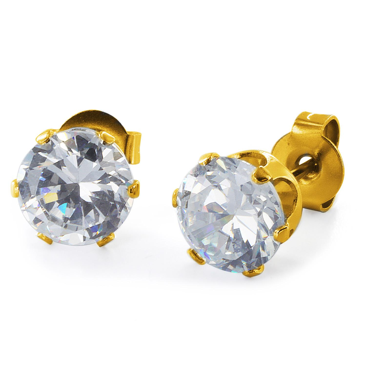 Gold Plated Stainless Steel Stud Earrings with Round Clear CZ - 6 mm