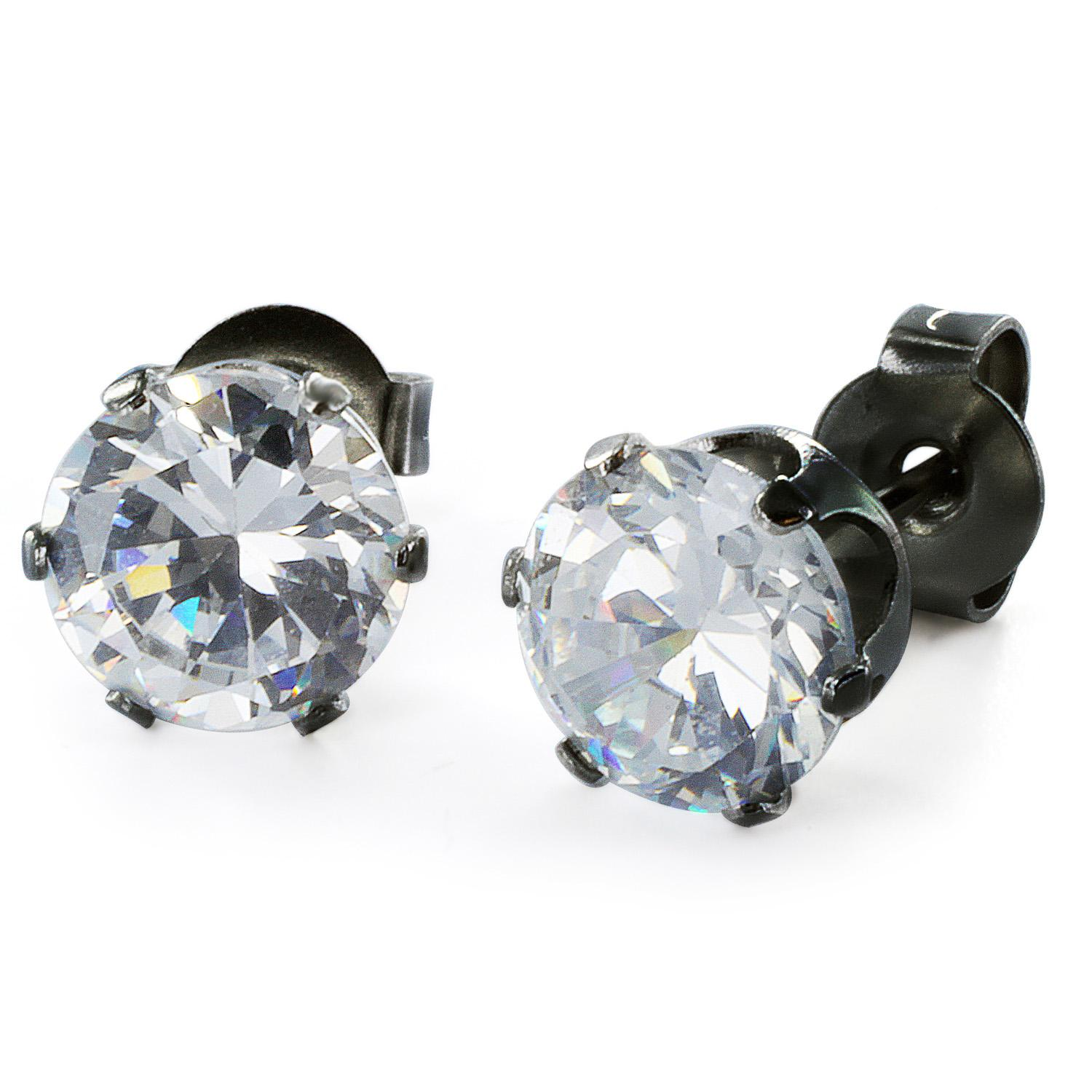 Black Plated Stainless Steel Stud Earrings with Round Clear CZ - 7 mm