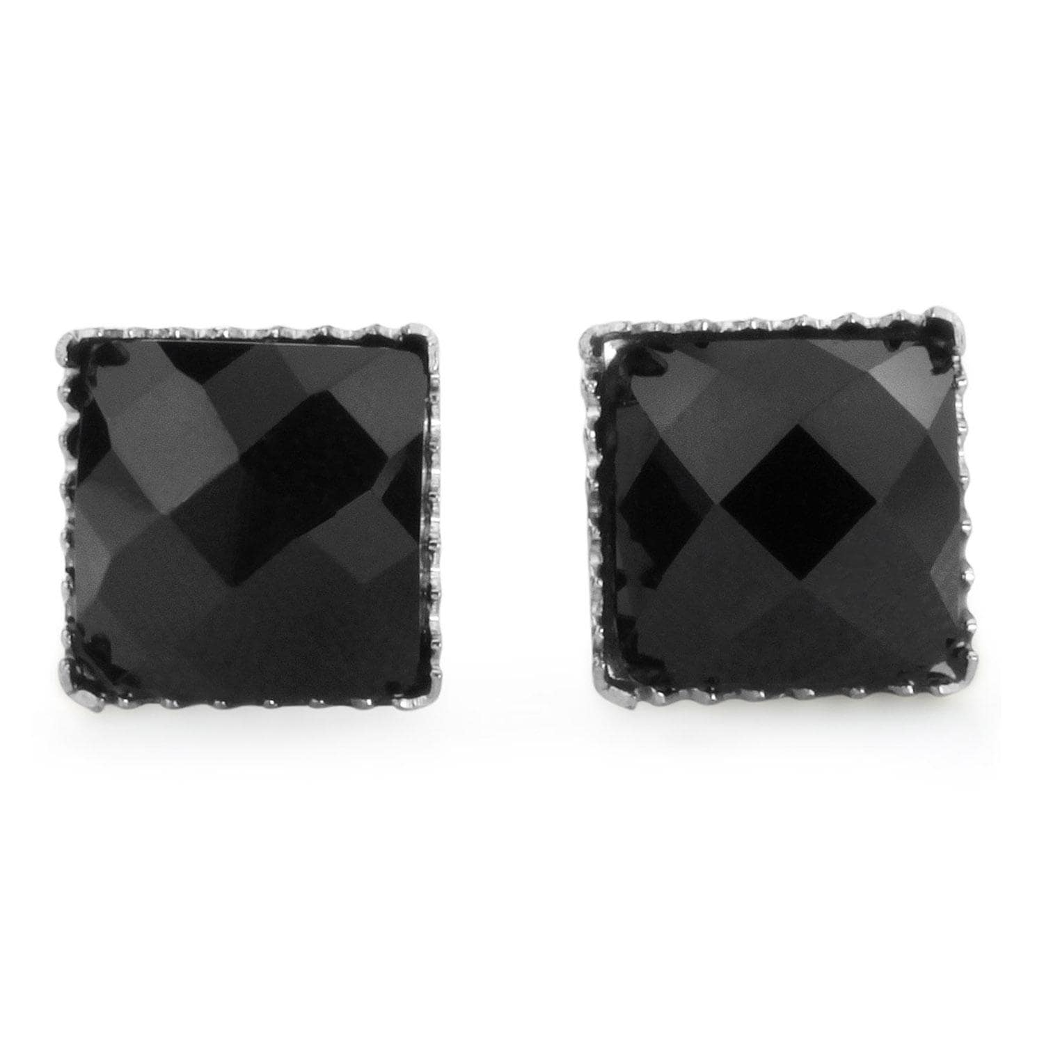 Pair of 316L Surgical Steel Faceted Square Black Onyx Gem Earrings - 7 mm