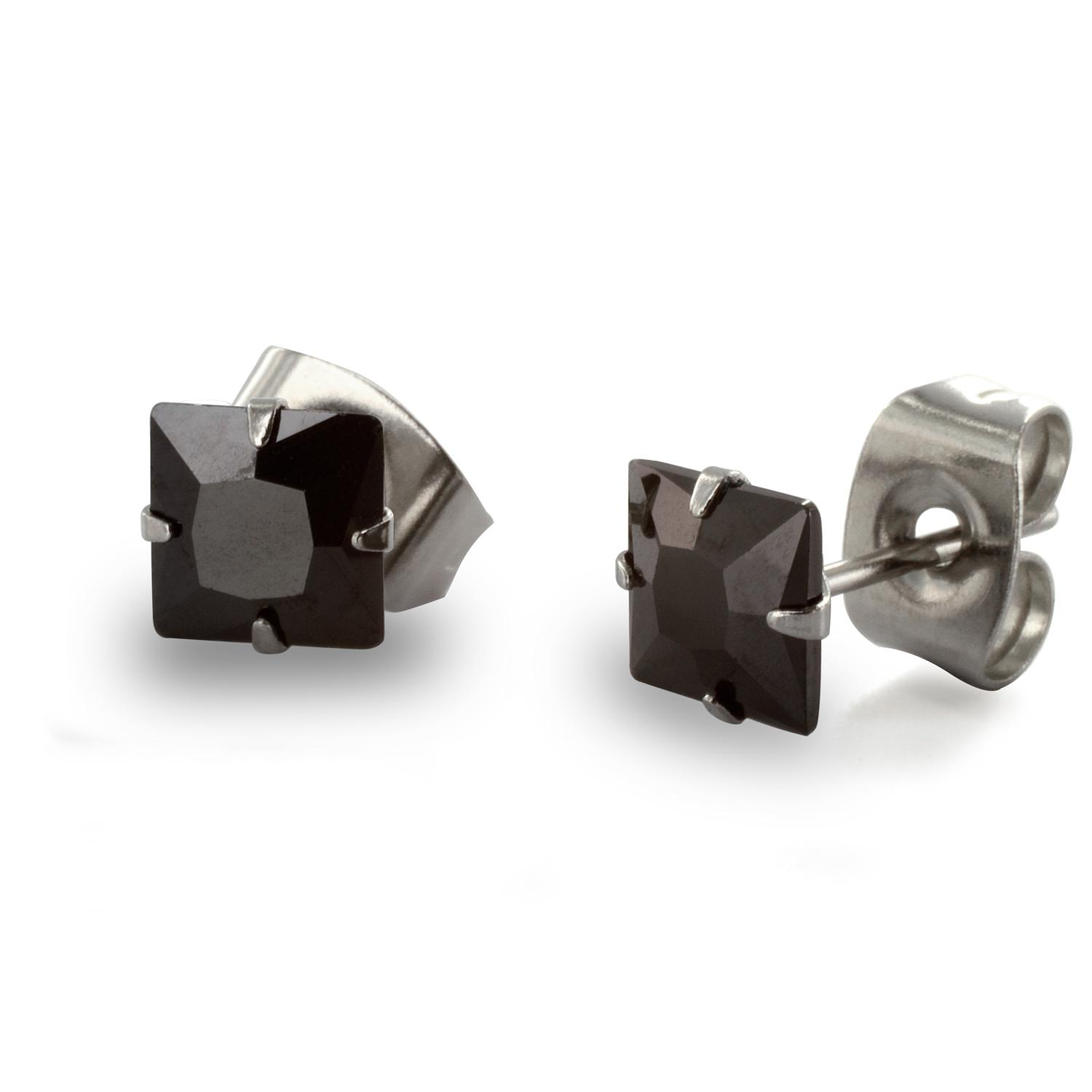 Stainless Steel Stud Earrings with Princess Cut Square Black CZ - 4 mm