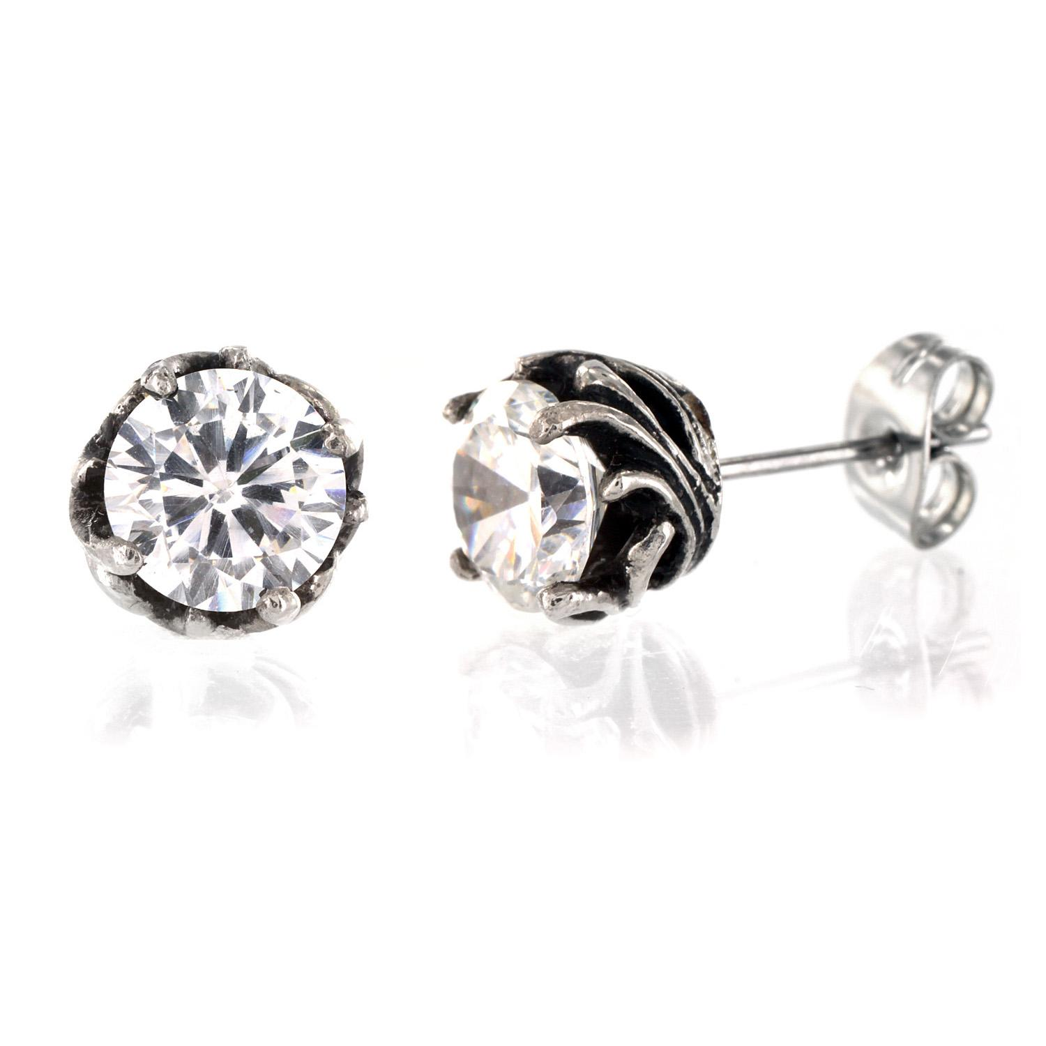 Pair of 316L Surgical Stainless Tribal Vine Prong with Clear CZ Stud Earring