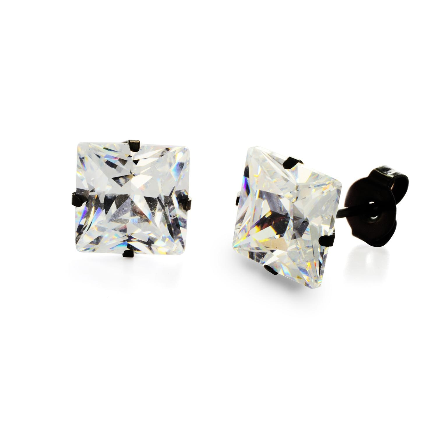 Black Plated Stainless Steel Stud Earrings with Princess Cut Clear CZ - 9 mm