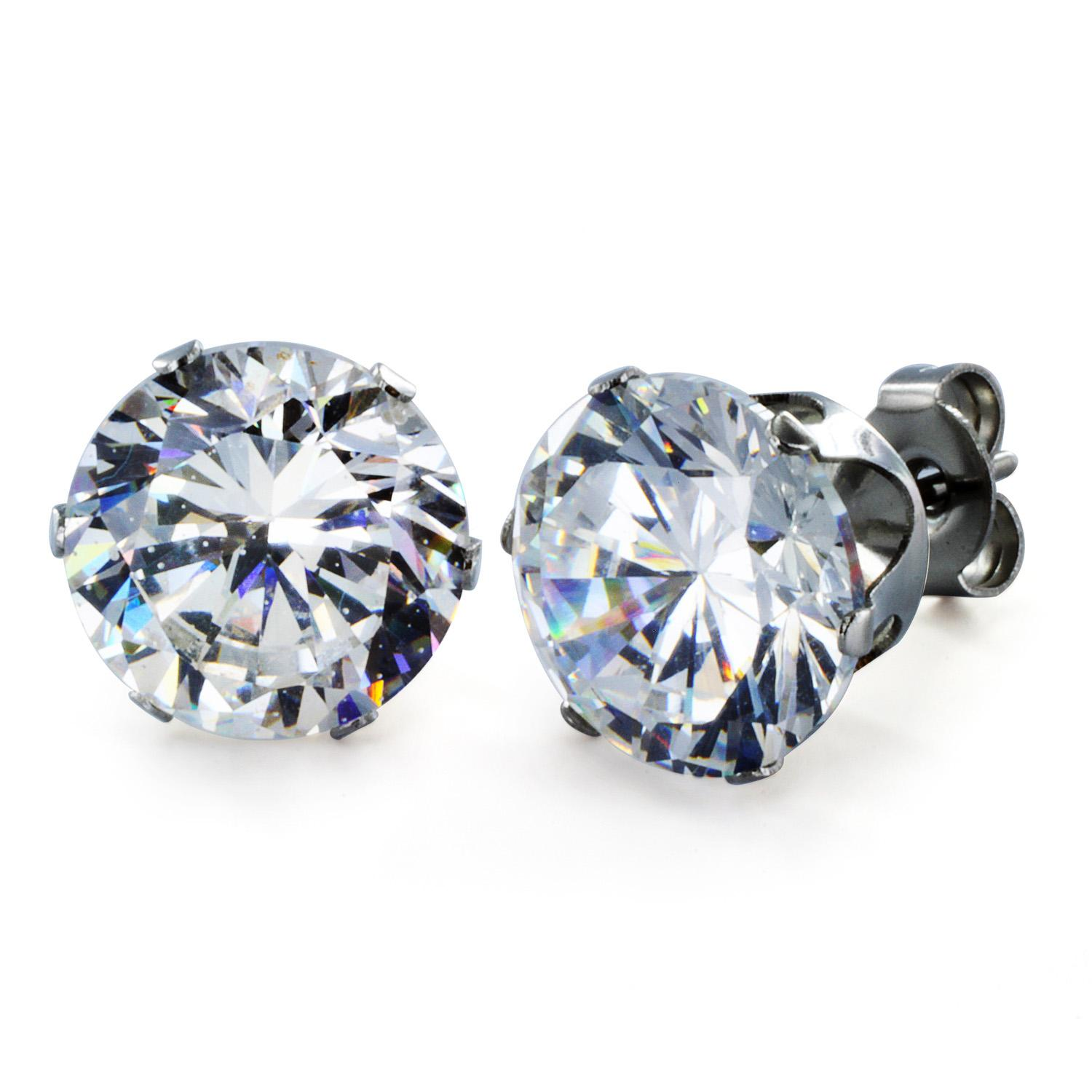 Stainless Steel Stud Earrings with Round Clear CZ - 10 mm