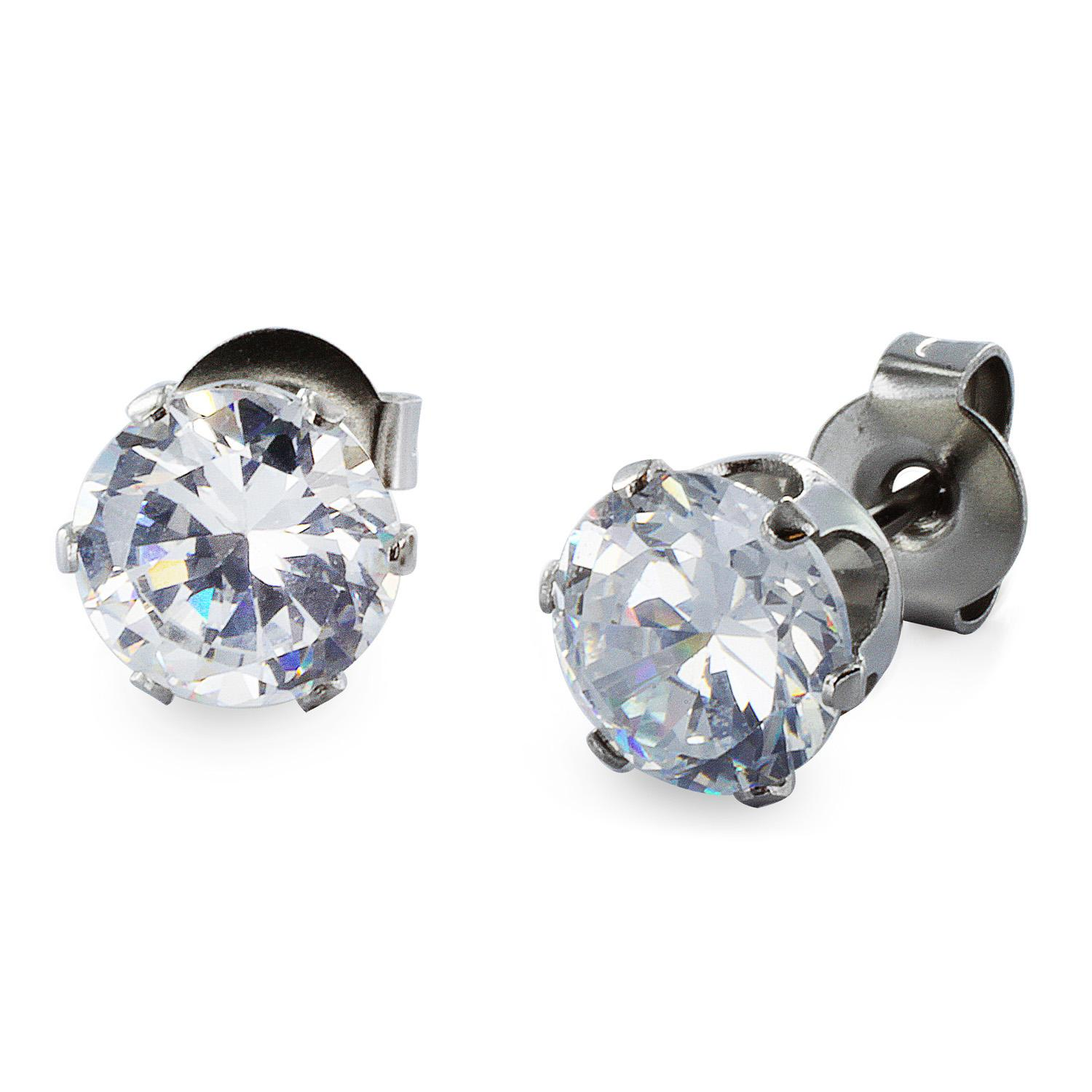 Stainless Steel Stud Earrings with Round Clear CZ - 5 mm