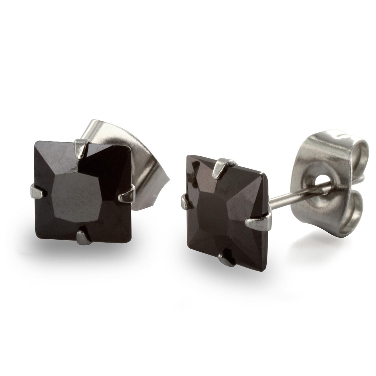 Stainless Steel Stud Earrings with Princess Cut Square Black CZ - 6 mm