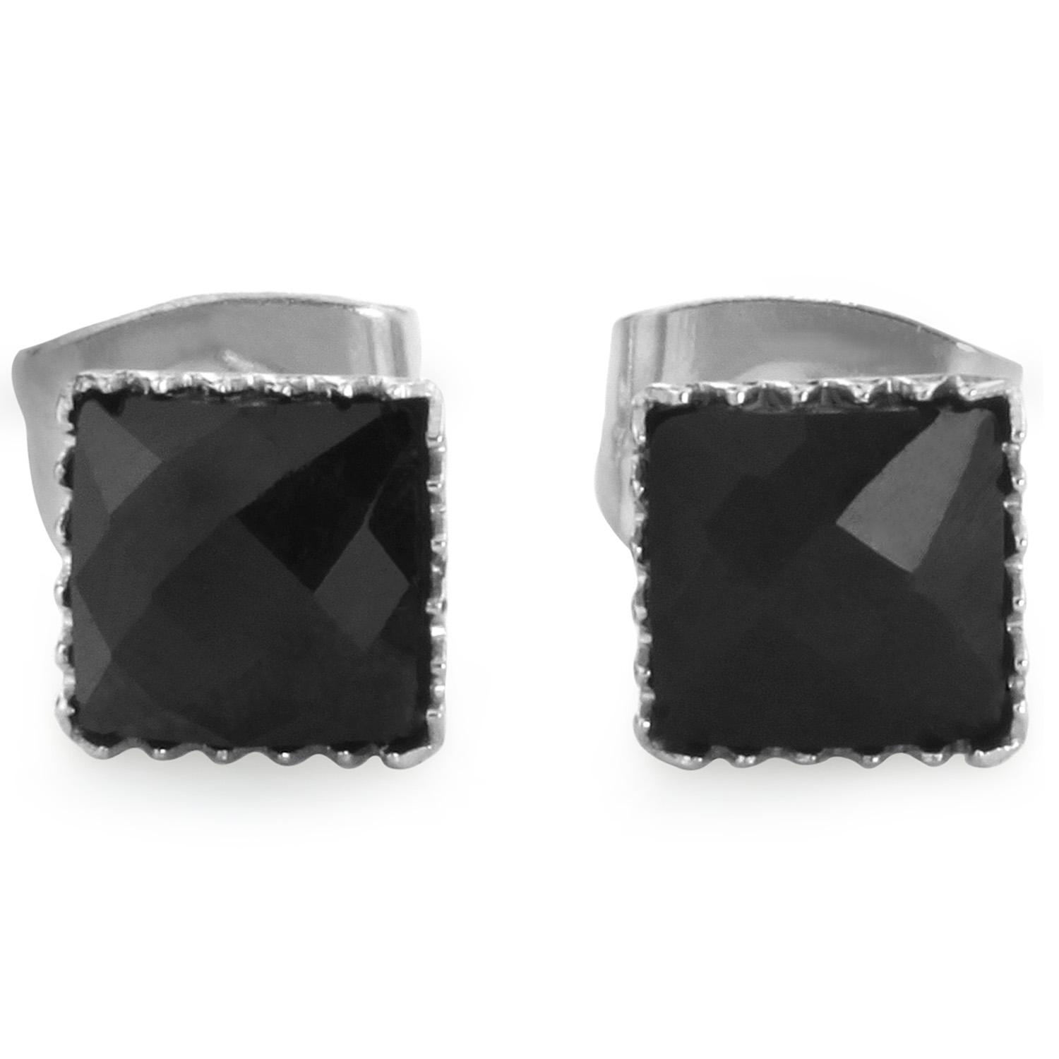 Pair of 316L Surgical Steel Faceted Square Black Onyx Gem Earrings - 5 mm