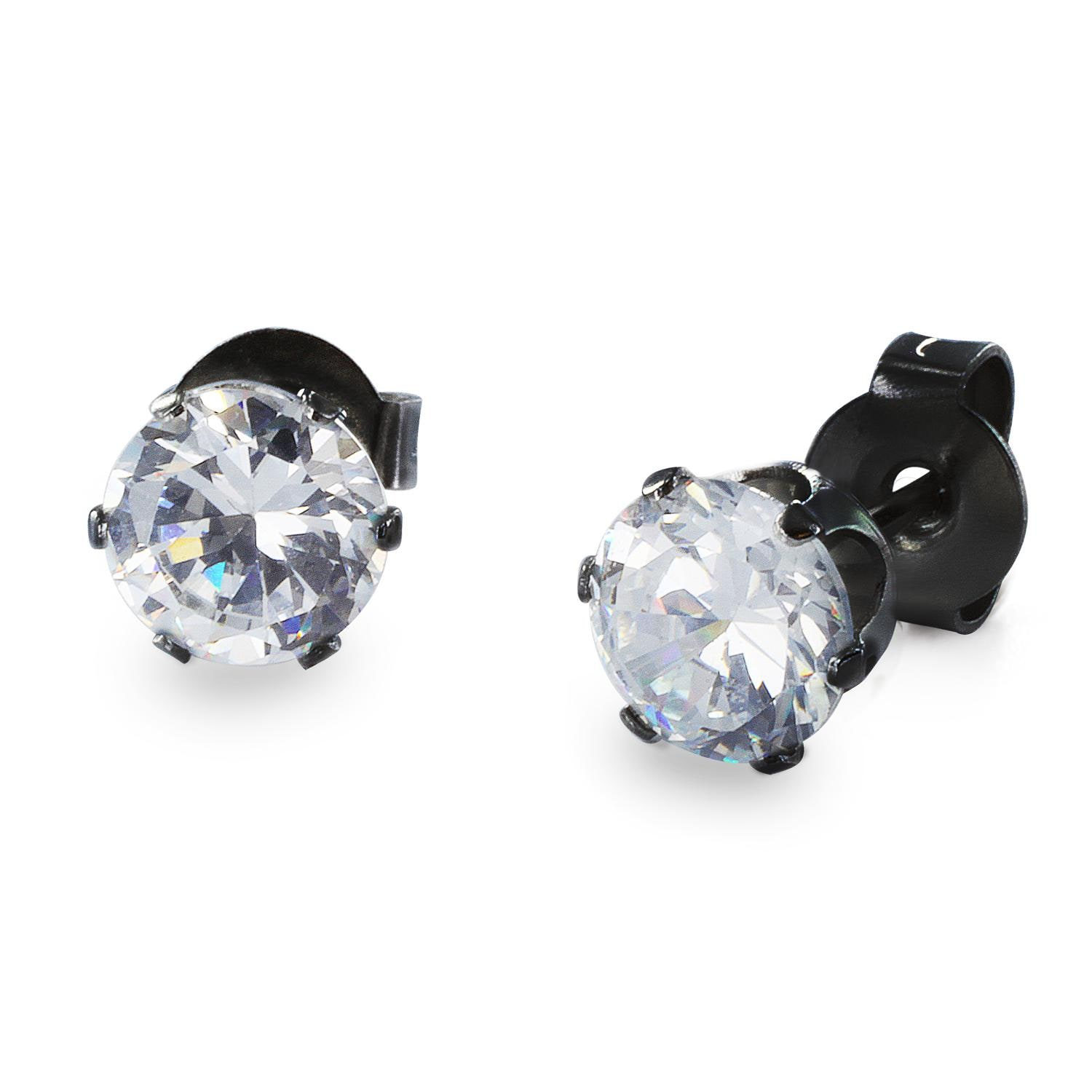 Black Plated Stainless Steel Stud Earrings with Round Clear CZ - 3 mm