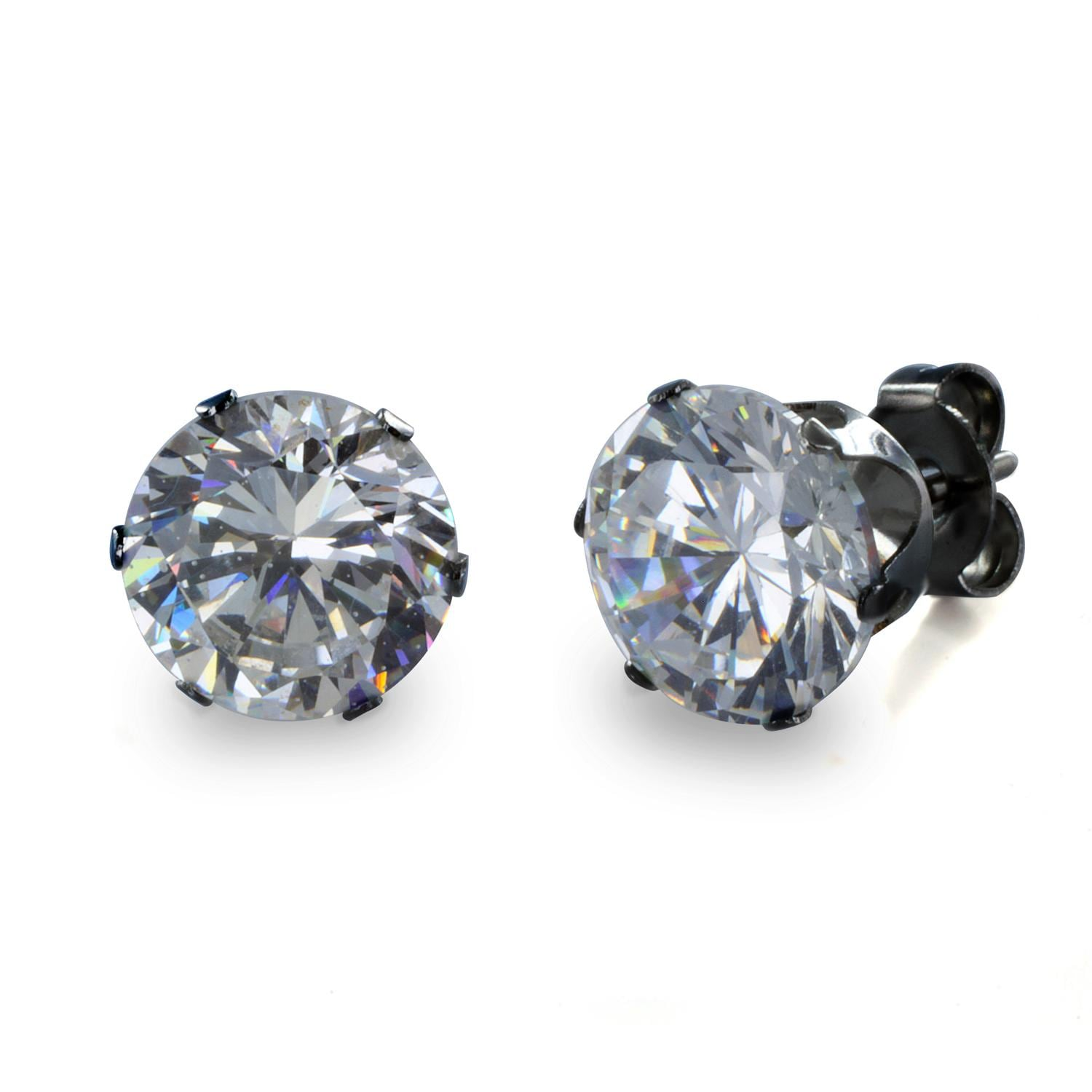 Black Plated Stainless Steel Stud Earrings with Round Clear CZ - 8 mm