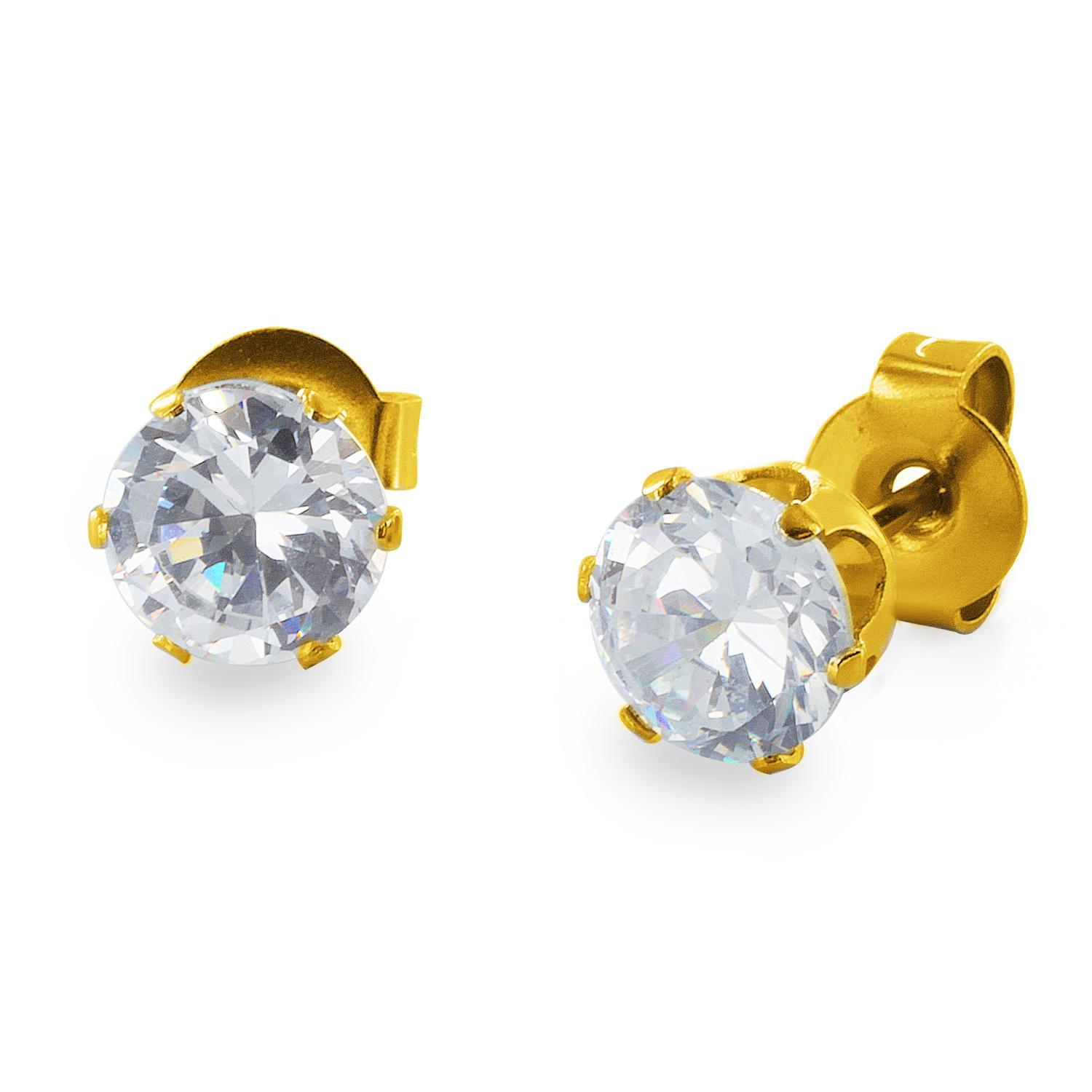 Gold Plated Stainless Steel Stud Earrings with Round Clear CZ - 4 mm