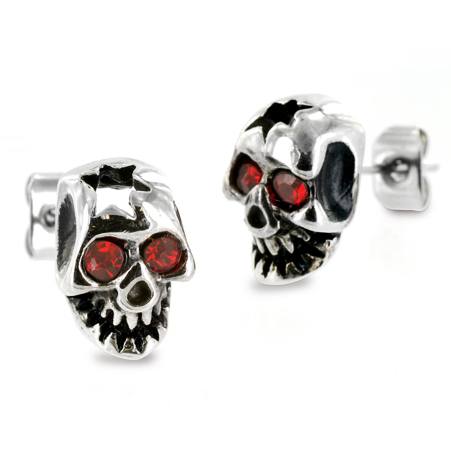 Pair of 316L Surgical Stainless Cracked Skull Red CZ Eyes Stud Earring