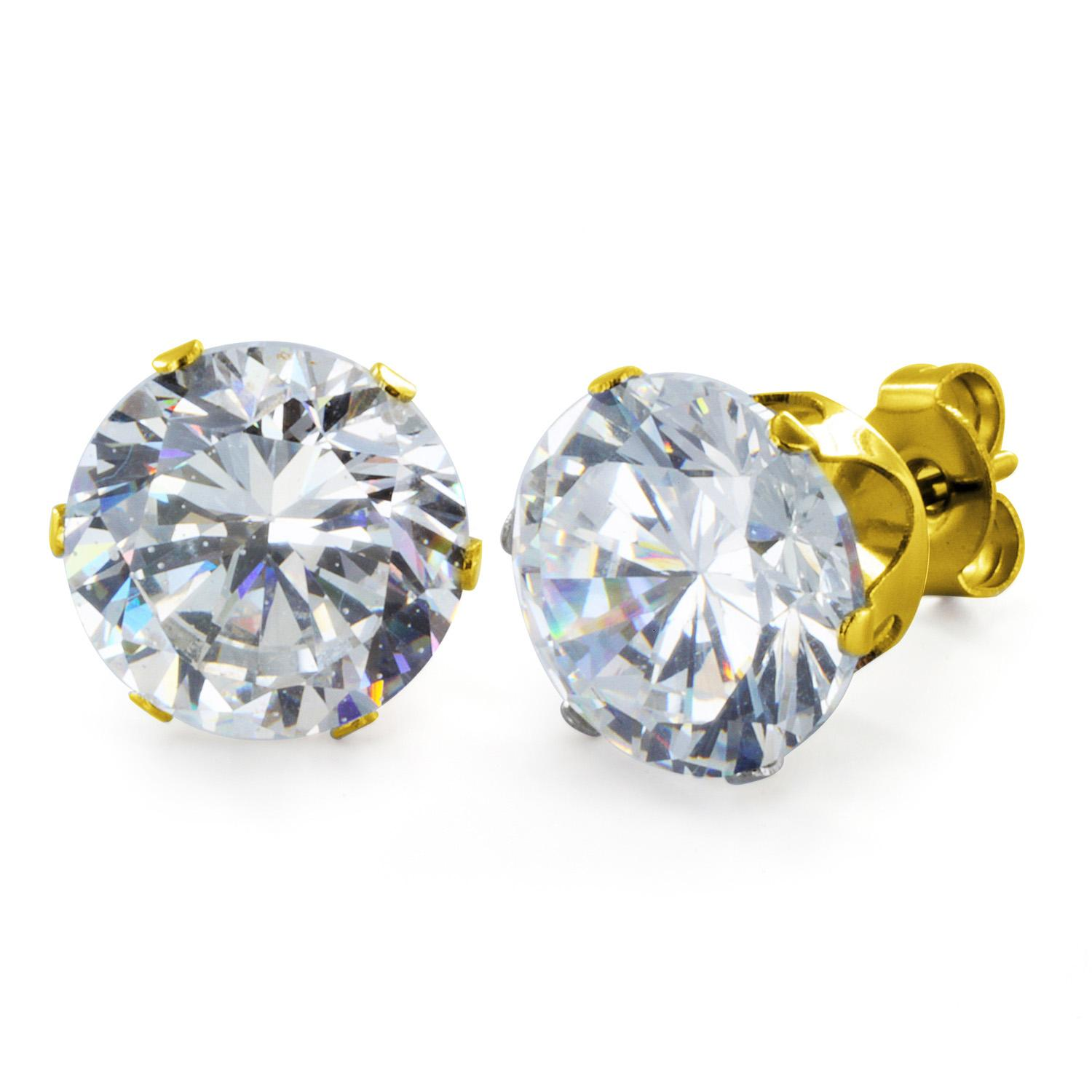 Gold Plated Stainless Steel Stud Earrings with Round Clear CZ - 10 mm