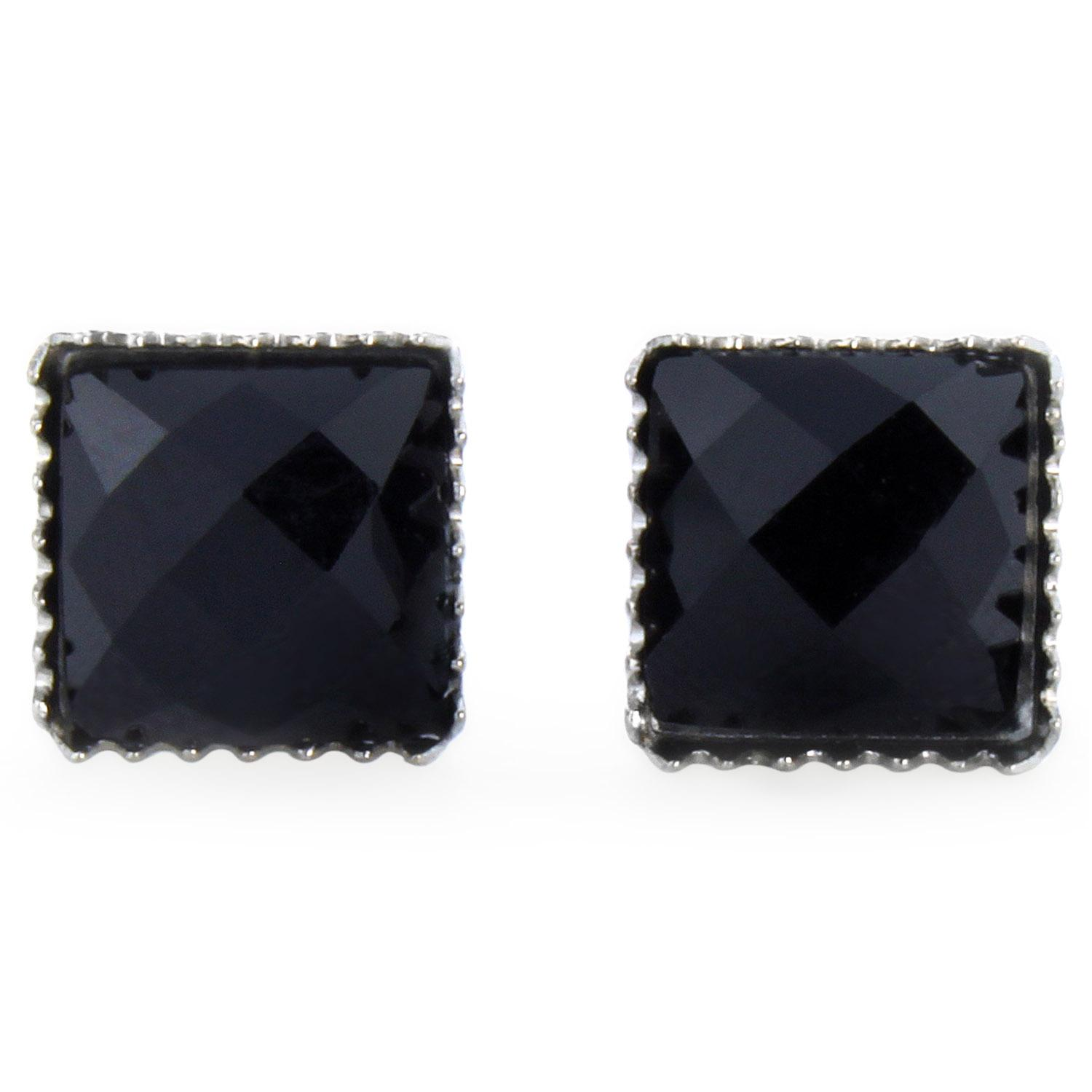 Pair of 316L Surgical Steel Faceted Square Black Onyx Gem Earrings - 6 mm