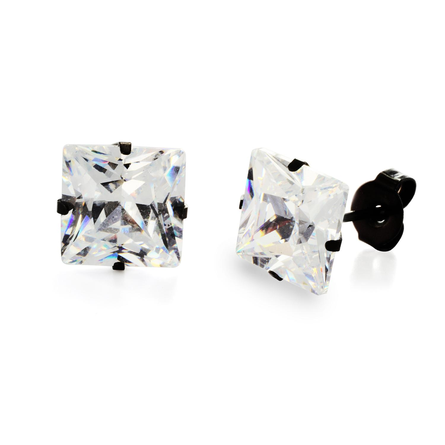 Black Plated Stainless Steel Stud Earrings with Princess Cut Clear CZ - 8 mm