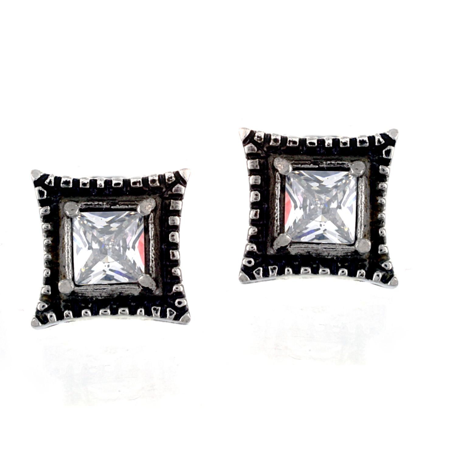 Pair of 316L Surgical Stainless Vintage Casted Square with Princess Cut Clear CZ Stud Earring