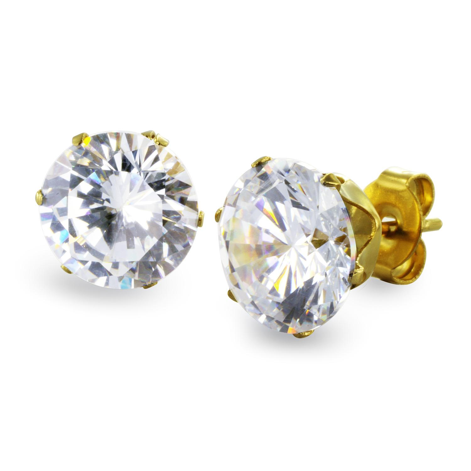 Gold Plated Stainless Steel Stud Earrings with Round Clear CZ - 9 mm
