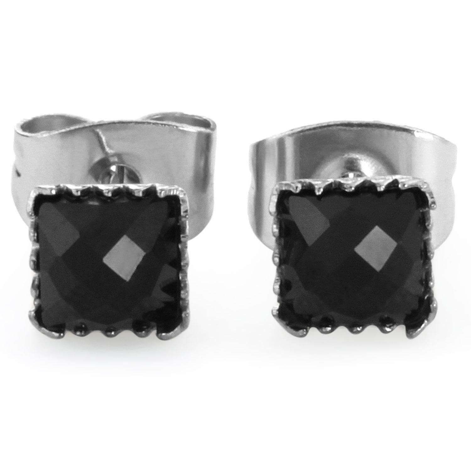 Pair of 316L Surgical Steel Faceted Square Black Onyx Gem Earrings - 4 mm