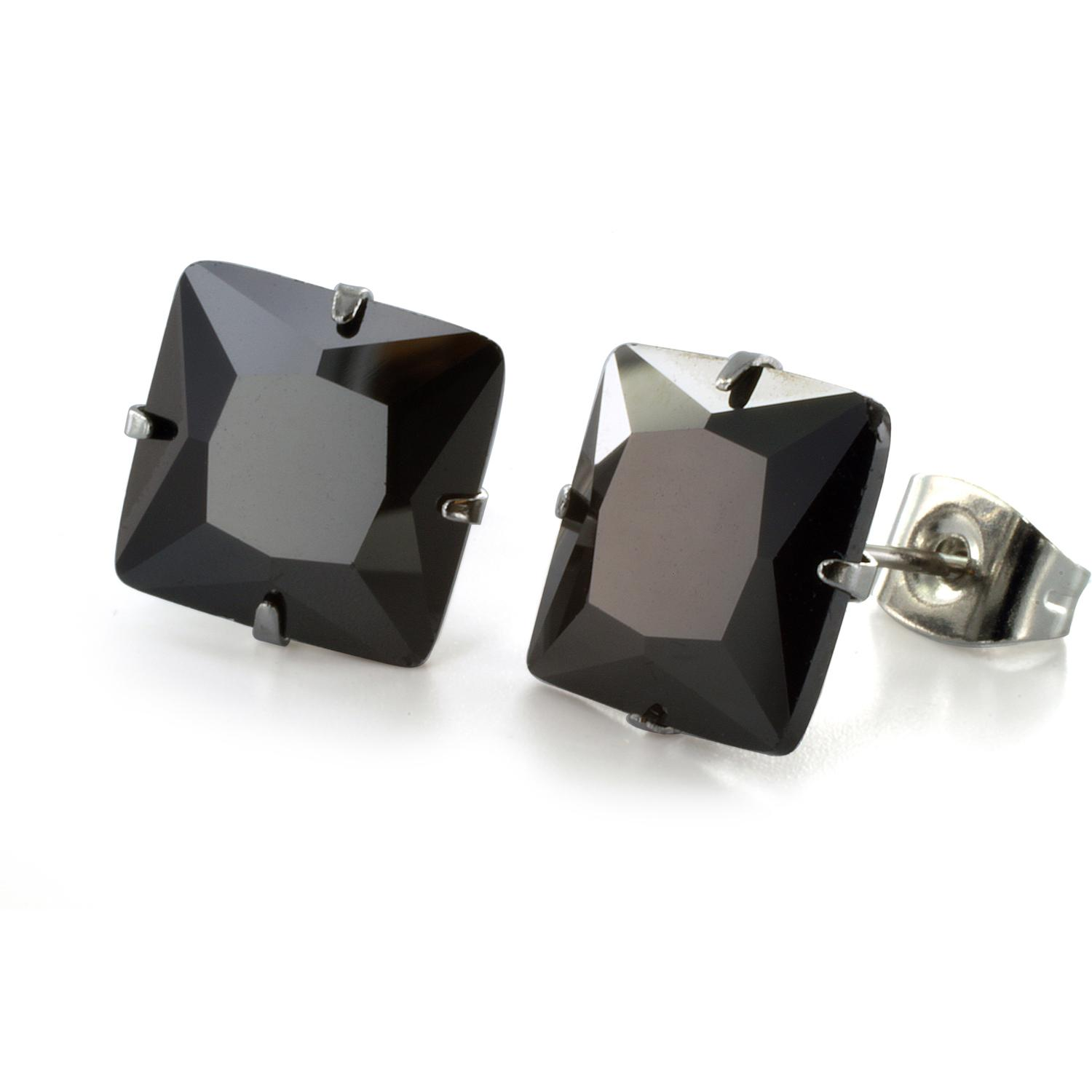 Stainless Steel Stud Earrings with Princess Cut Square Black CZ - 10 mm