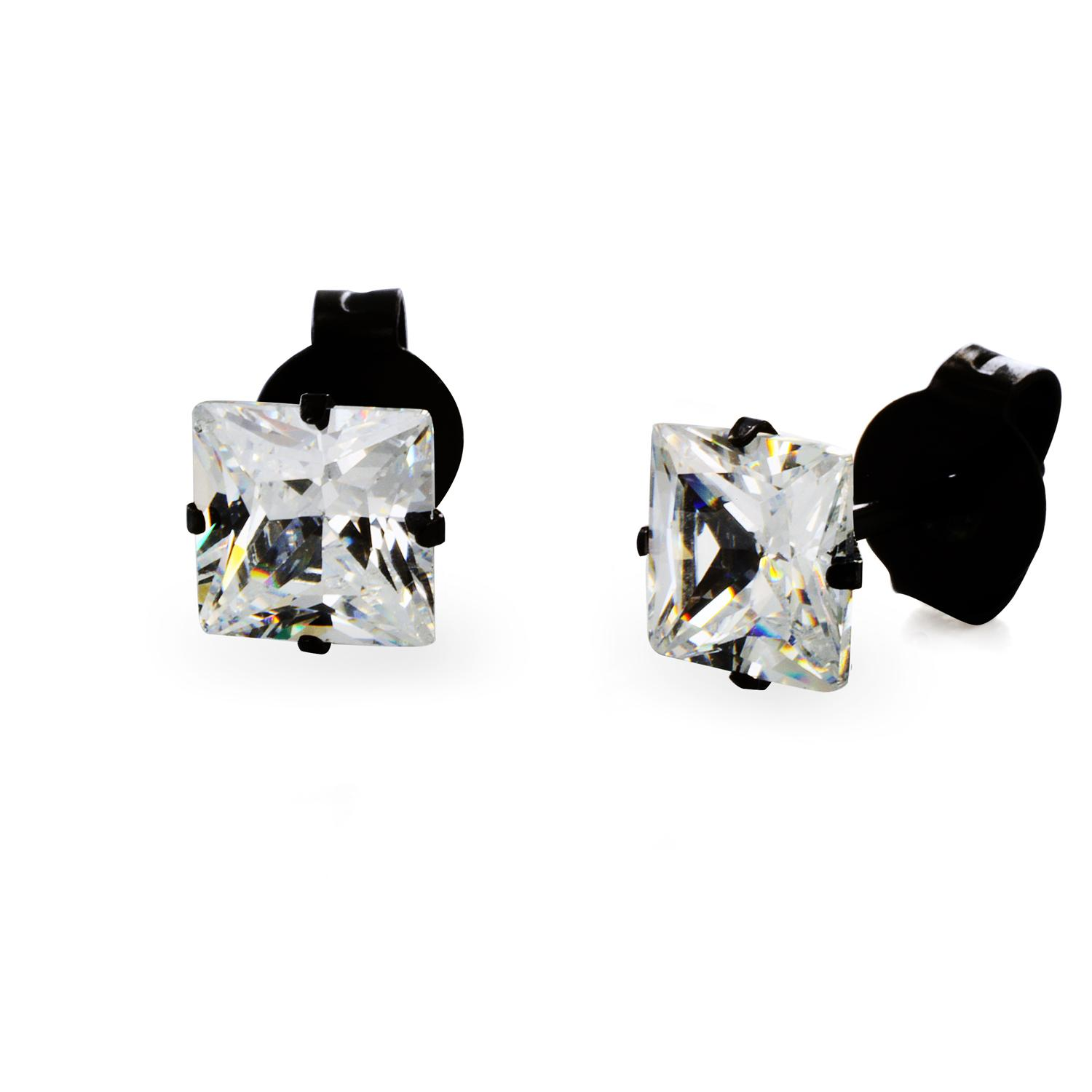 Black Plated Stainless Steel Stud Earrings with Princess Cut Clear CZ - 4 mm