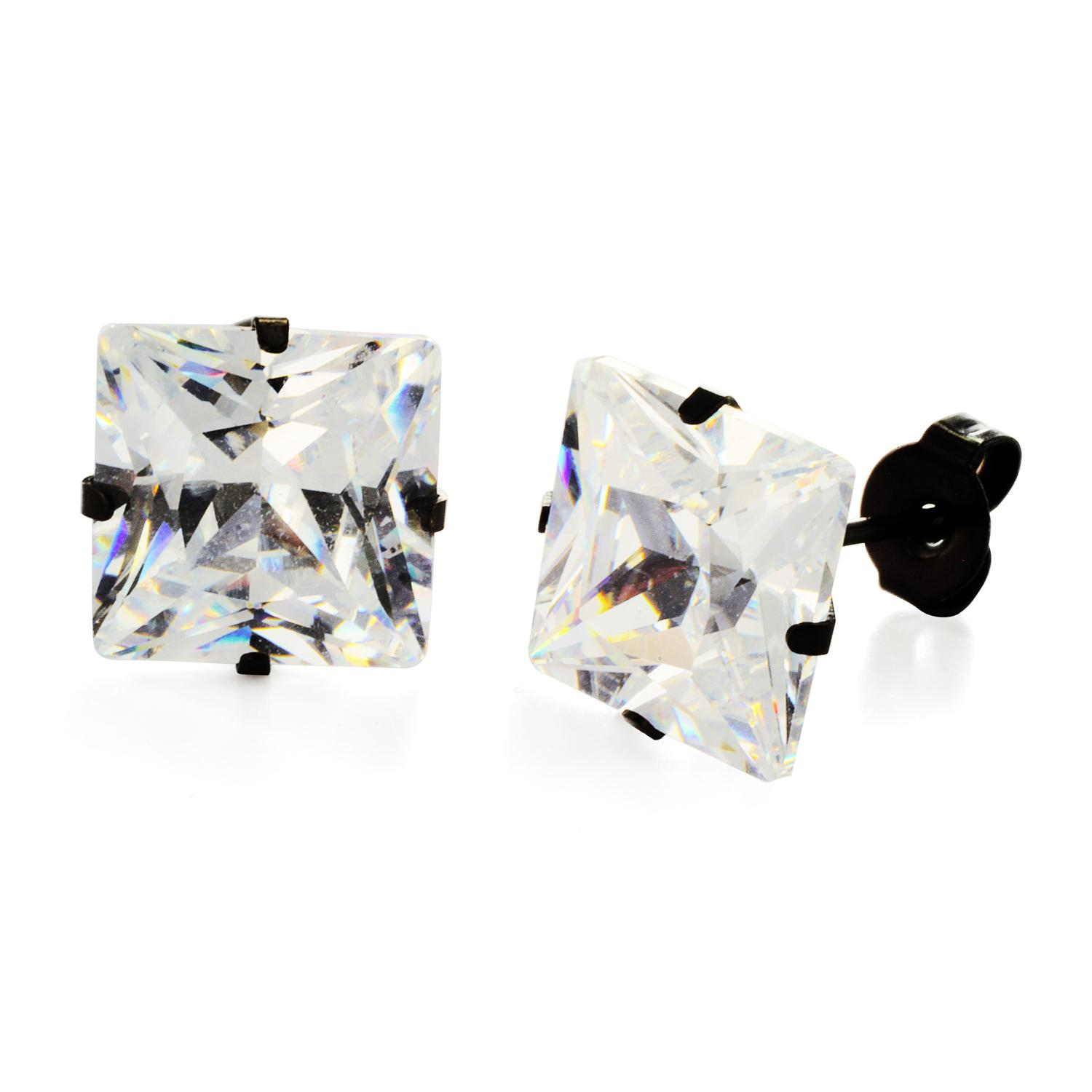 Black Plated Stainless Steel Stud Earrings with Princess Cut Clear CZ - 10 mm