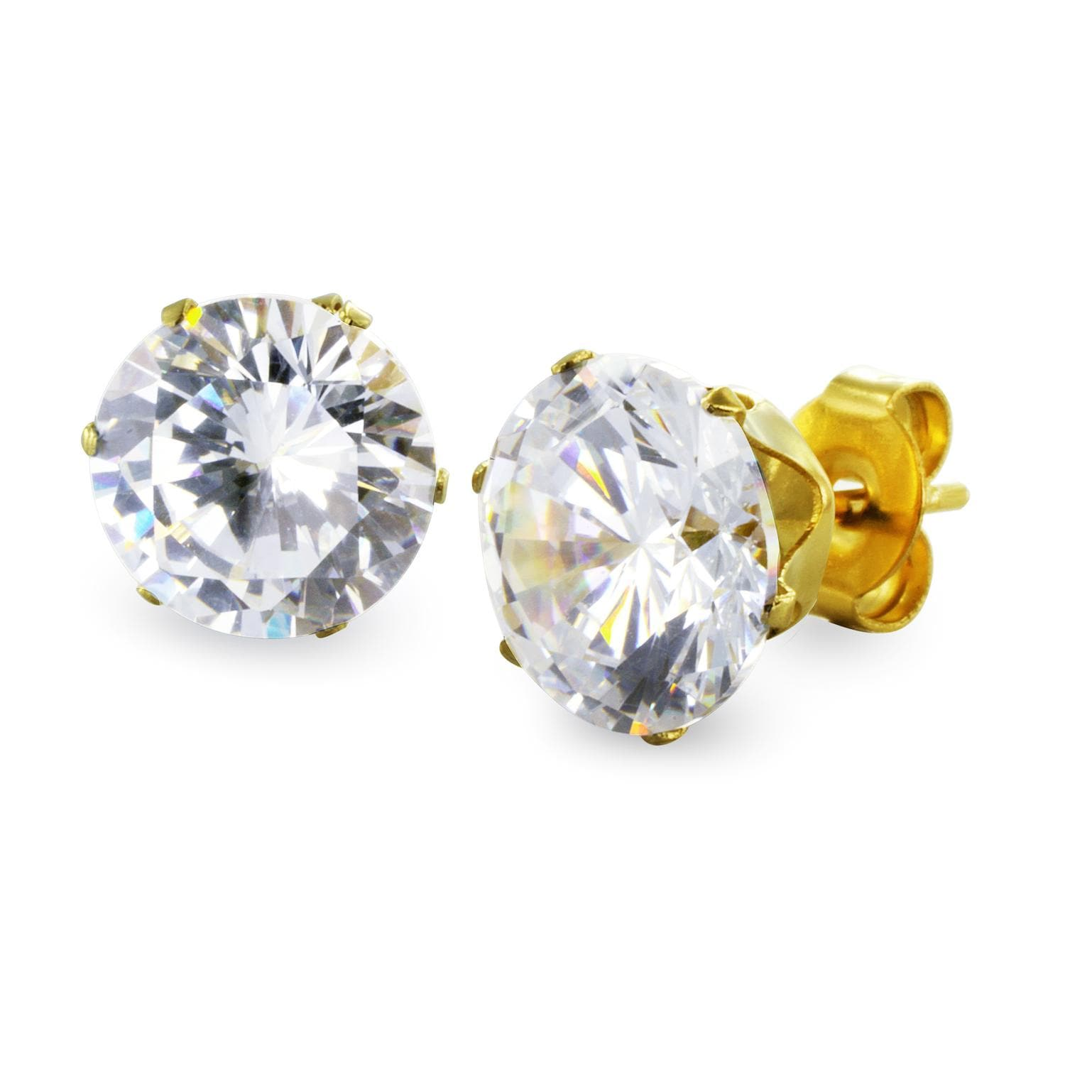 Gold Plated Stainless Steel Stud Earrings with Round Clear CZ - 8 mm