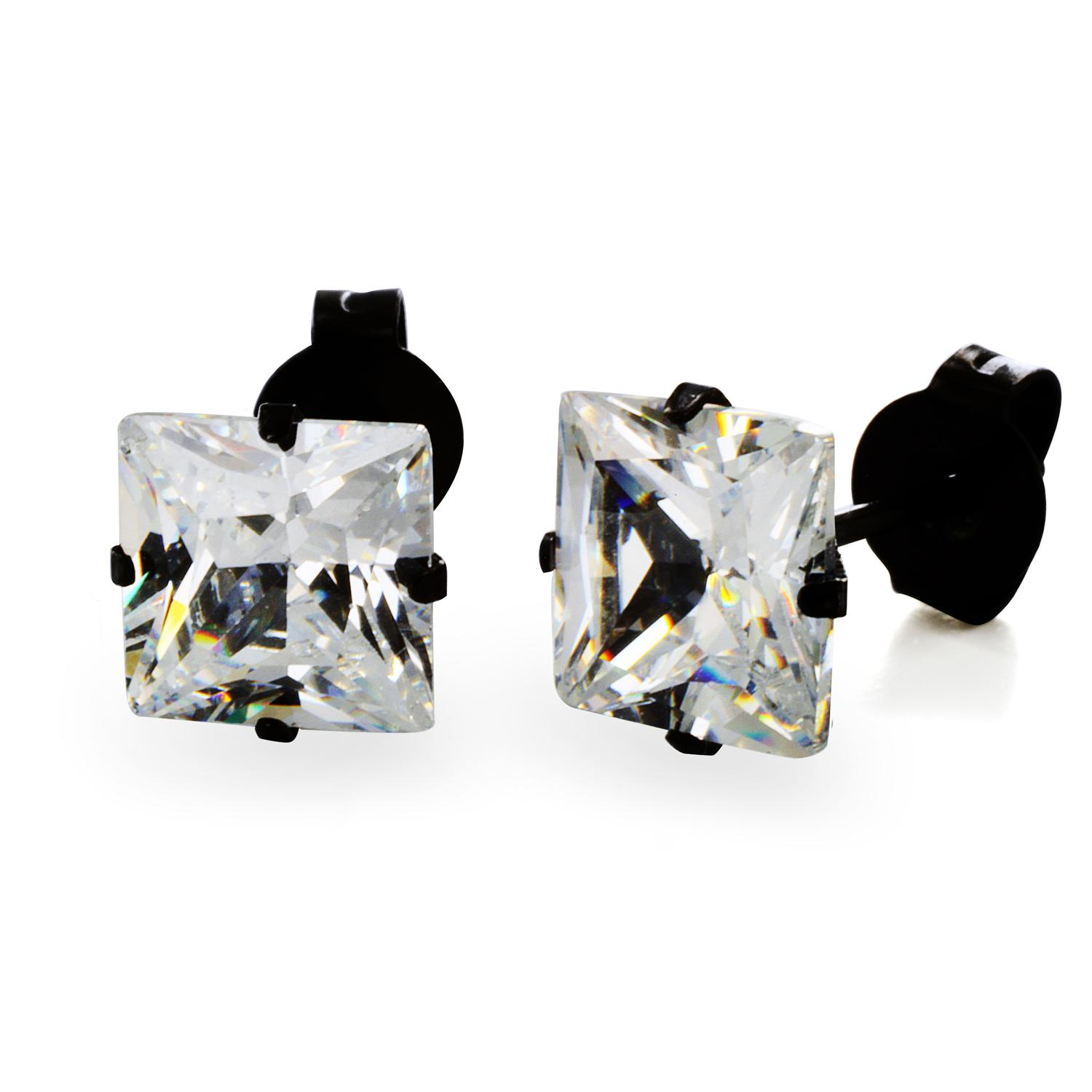 Black Plated Stainless Steel Stud Earrings with Princess Cut Clear CZ - 6 mm