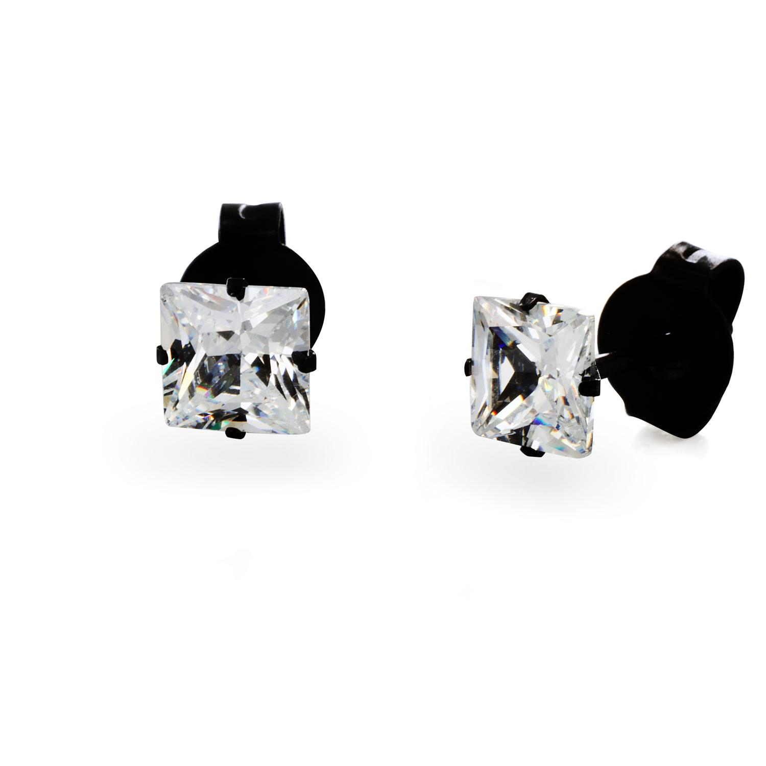 Black Plated Stainless Steel Stud Earrings with Princess Cut Clear CZ - 3 mm