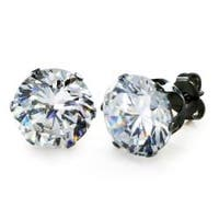 Black Plated Stainless Steel Stud Earrings with Round Clear CZ - 10 mm