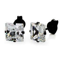 Black Plated Stainless Steel Stud Earrings with Princess Cut Clear CZ - 7 mm - Thumbnail 0