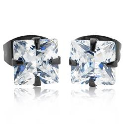 Black Plated Stainless Steel Stud Earrings with Princess Cut Clear CZ - 5 mm - Thumbnail 0