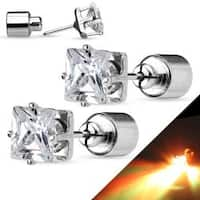 Pair of LED Blinking Clear Square CZ 316L Surgical Steel Stud Earrings - 8 mm