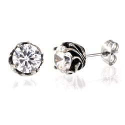 Pair of 316L Surgical Stainless Tribal Vine Prong with Clear CZ Stud Earring - Thumbnail 0