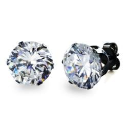 Black Plated Stainless Steel Stud Earrings with Round Clear CZ - 9 mm - Thumbnail 0