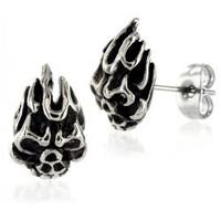 Pair of 316L Surgical Stainless Flaming Demon Skull with Clear CZ Eyes Stud Earring