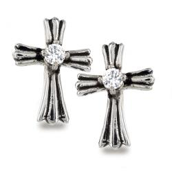 Pair of 316L Surgical Stainless Royal Cross with Clear CZ Center Stud Earring - Thumbnail 0