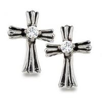 Pair of 316L Surgical Stainless Royal Cross with Clear CZ Center Stud Earring