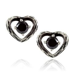 Pair of 316L Surgical Stainless Vintage Casted Heart with Black CZ Stud Earring - Thumbnail 0