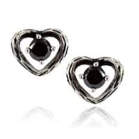 Pair of 316L Surgical Stainless Vintage Casted Heart with Black CZ Stud Earring