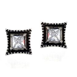 Pair of 316L Surgical Stainless Vintage Casted Square with Princess Cut Clear CZ Stud Earring - Thumbnail 0