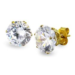 Gold Plated Stainless Steel Stud Earrings with Round Clear CZ - 9 mm - Thumbnail 0