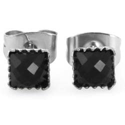 Pair of 316L Surgical Steel Faceted Square Black Onyx Gem Earrings - 4 mm - Thumbnail 0