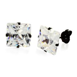 Black Plated Stainless Steel Stud Earrings with Princess Cut Clear CZ - 10 mm - Thumbnail 0