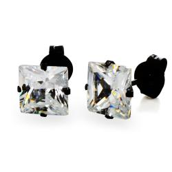 Black Plated Stainless Steel Stud Earrings with Princess Cut Clear CZ - 6 mm - Thumbnail 0